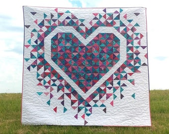 PAPER Exploding Heart Quilt Pattern by Slice of Pi Quilts [fat quarter and scrap friendly quilt pattern]