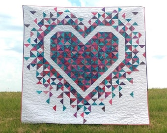 PDF Exploding Heart Quilt Pattern Digital Download by Slice of Pi Quilts [fat quarter and scrap friendly quilt pattern]