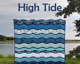 PDF High Tide Quilt Pattern Digital Download by Slice of Pi Quilts [Waves easy beginner bias tape applique quilt pattern]