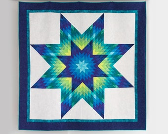 PDF Glowing Lone Star Quilt Pattern Digital Download by Slice of Pi Quilts