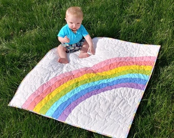 PDF Bundle of Joy Quilt Pattern Digital Download by Slice of Pi Quilts [Rainbow baby quilt patttern, includes baby and NICU sizes]