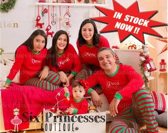 embroidered family pajamas rush available kids adult monogrammed holiday plus size 3x 4x 5x polar express christmas red green fast ship