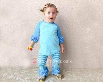 Personalized Custom Yellow Star Cotton Toddler Long Sleeve Ruffle Shirt Top