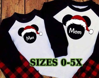 plaid family matching christmas pajamas disney mickey mouse minnie santa hats holiday mom dad adult kids long johns personalized names