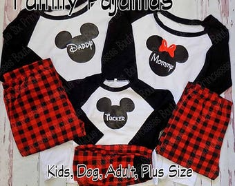buffalo plaid rush family pajamas minnie mickey cruise kids adult monogrammed holiday plus size to 5xl disney polar express christmas