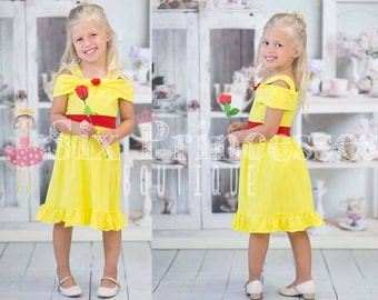 Birthday Princess Dress Belle Beauty U0026 The Beast Girls Party Knit Disney  Cruise Boutique Monogrammed Name Personalized Custom Monogram First