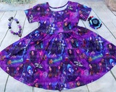 Disney DESCENDANTS Super Twirl Dress Ruffle Raglan Top Matching Family 3 Evie Uma Audrey Necklace Set Outfit Audrey Mal Costume DIsneyworld