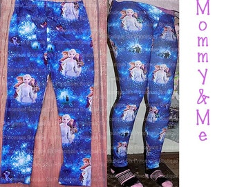 Disney Frozen Girls Elsa /& Anna Snowflake Leggings