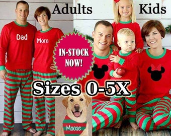 family pajamas rush available sleepwear kids adult monogrammed holiday plus size 5xl matching disney polar express christmas red green