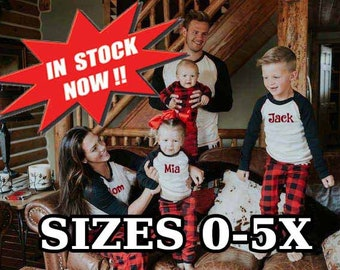 buffalo plaid family pajamas rush available sleep kids adult monogrammed holiday plus size to 5xl disney polar express christmas matching