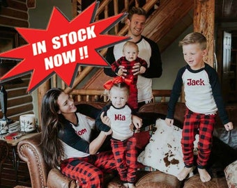 embroidered family pajamas rush available buffalo plaid fast ship kid adult monogrammed holiday plus size 3x 4x 5x polar express christmas
