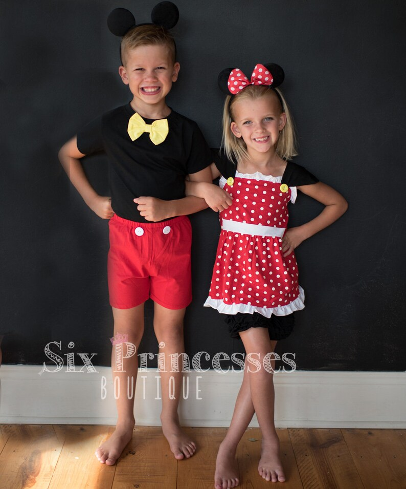 Mickey /& Minnie Sibling Sets Disney Dress Outfit Costume Girls Boys Sensory Friendly  Soft Disneyland Princess Cruise Disneyworld mouse