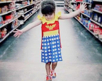 Birthday Princess Dress Wonder Woman Super Hero  Girls Party Knit  Disney Cruise Boutique Monogrammed Name Personalized Custom Monogram