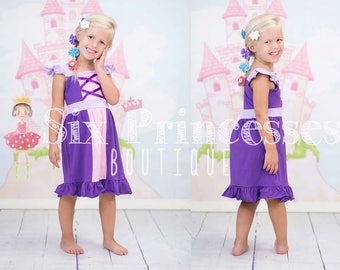 Birthday Princess Dress Rapunzel Tangled Girls Party Knit Disney Cruise Boutique Monogrammed Name Personalized Custom Monogram Birthday