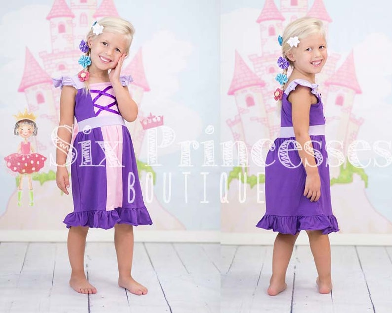 Birthday Princess Dress Rapunzel Tangled Girls Party Knit image 0