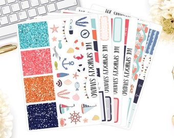 Nautical Kit Weekly Planner Kit // +200 Planner Stickers