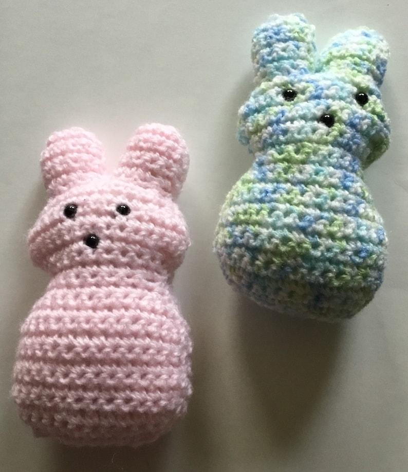 Crocheted bunny peeps