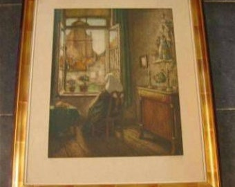 Original color etching by Albert Geudens (1869-1949).