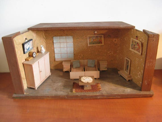 For sale vintage dollhouse bedroom with attributes  1950s