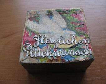 For the dollhouse...beautiful cake box (Herzlichen Glückwunsch) with cake...c. 1920
