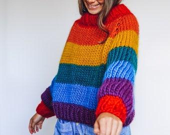Knit Kit - Rainbow Roll up Knit down Jumper - Roll Neck rainbow jumper knitting kit
