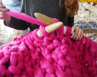 DIY Chunky knit blanket kit - Knit your own giant knit blanket - super chunky blanket knit kit - Giant knitting kit - Wool in stock now