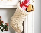 Chunky Knit White Christmas Stocking - Traditional hand knit christmas stockings - Scandinavian Christmas decoration - Chunky knit stocking