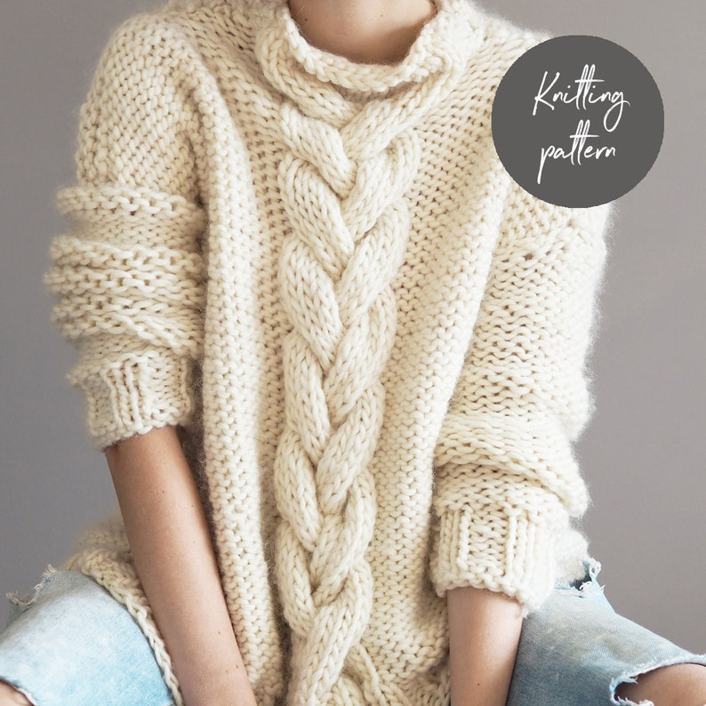 34c4353022e7 Knitting Pattern Cable Knit Jumper instant download sweater