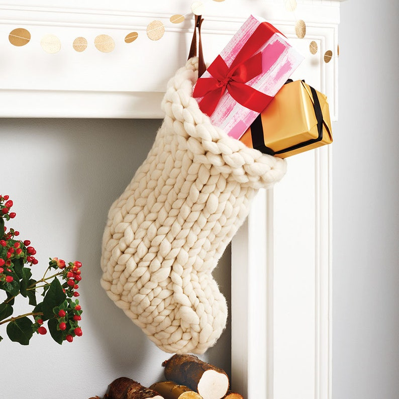 Chunky Knit White Christmas Stocking  Traditional hand knit image 0