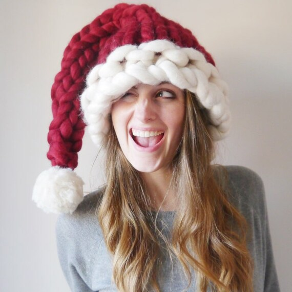 Chunky Knit Santa Hat Knitted Christmas Hat Hand Knitted Etsy