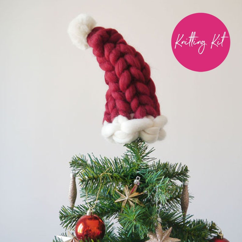 Tree Topper Knitting Kit  Mini Santa Hat kit  Make your own image 0