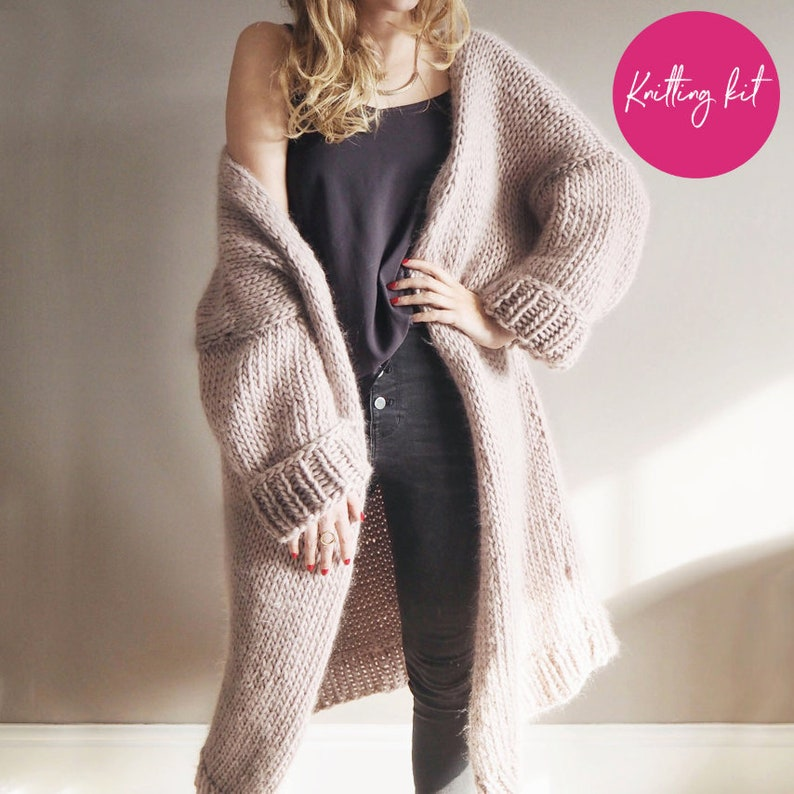 31d68c75b0 Knit Your Own Oversized Chunky knit Cardigan Knitting Kit