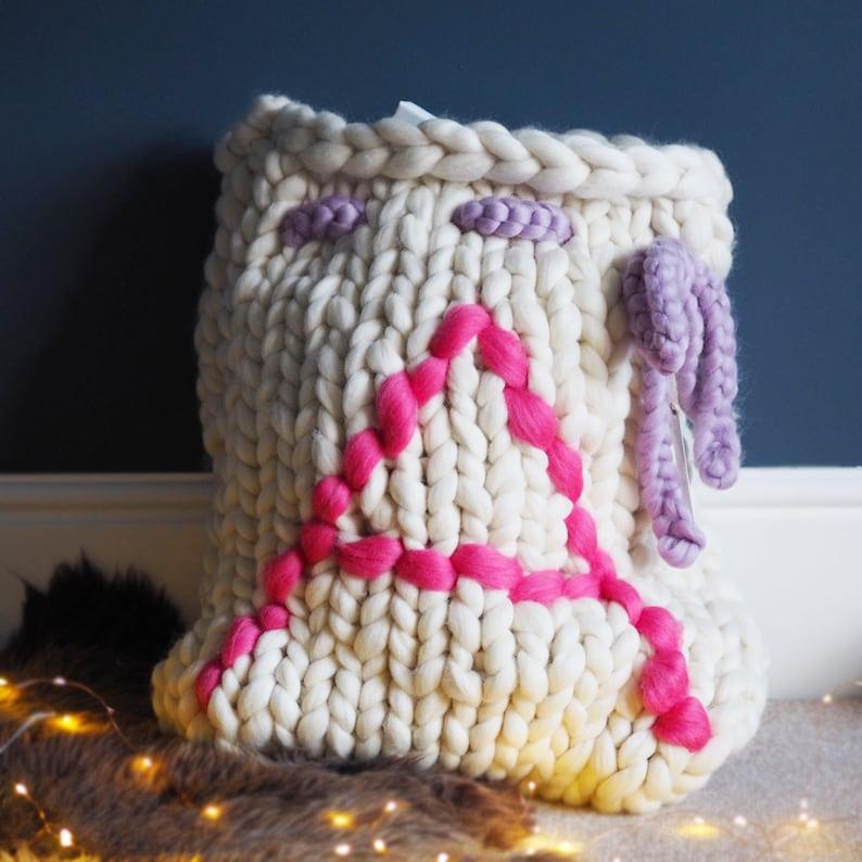 Knitted Christmas Sack giant knitting Personalized Santa Sack Christmas presents Large chunky knitted present Sack Christmas decoration