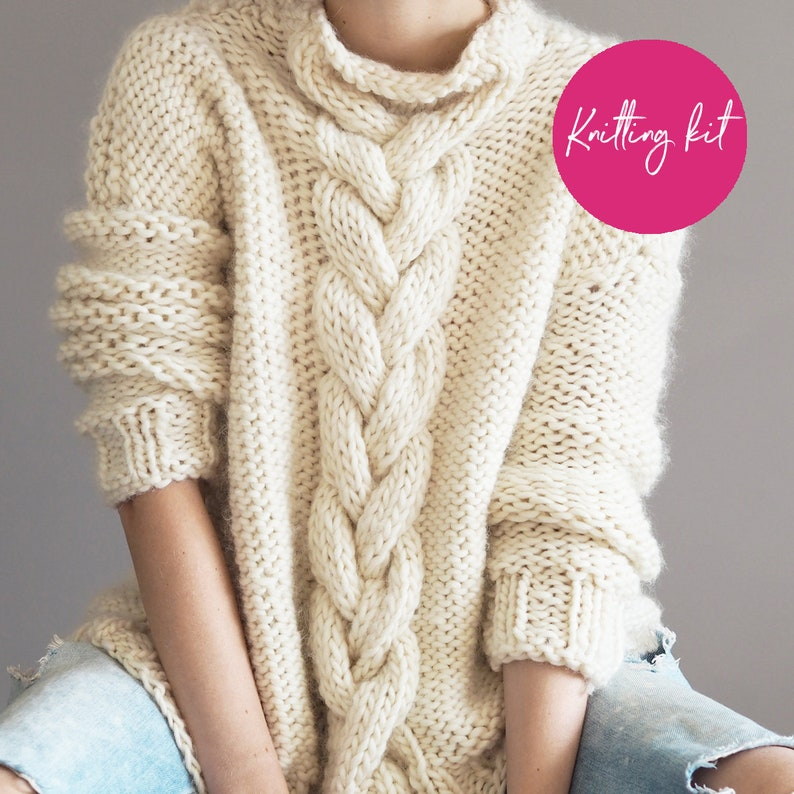 906d04e623a56 Chunky Cable Knit Jumper knitting Kit Make your own Super