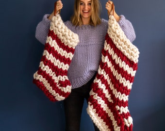Chunky Knit Striped Christmas Stocking - Red and White Candy-stripe - hand knit christmas stockings - Christmas decorations - Chunky Knit