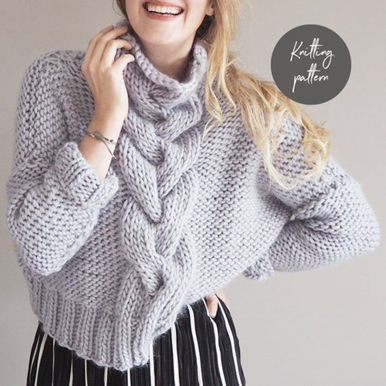 01afcd1fb Knitting Pattern Cropped Cable Knit Jumper Sweater Pattern