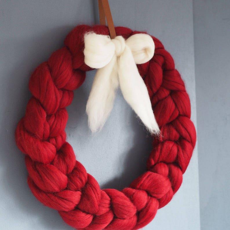 Chunky Knit Christmas Wreath Etsy