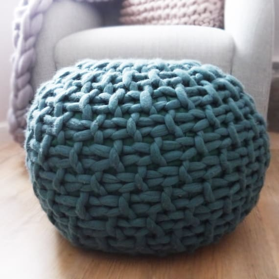 Custom Colour Knitted Pouf Footstool Chunky Knit Pouffe Etsy Awesome Turquoise Knitted Pouf