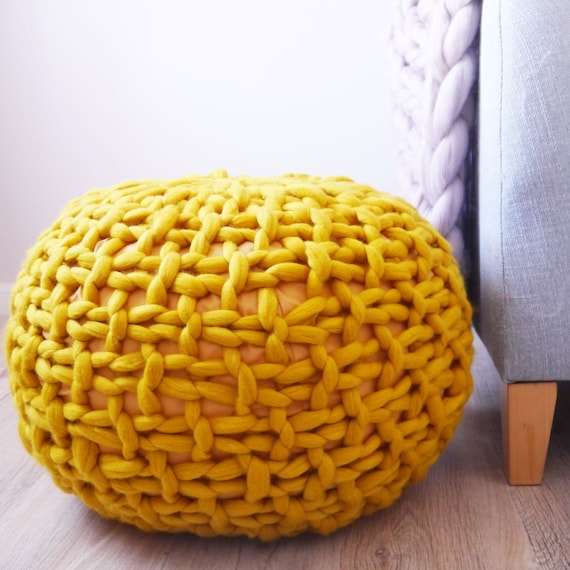 Mustard Yellow Knitted Pouf Ottoman Footstool Mustard Pouffe Etsy Unique Yellow Knit Pouf