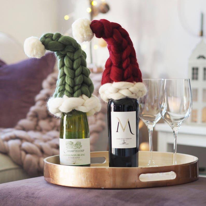 Bottle cosy set  Santa Hat  Elf Hat  Xmas gift  Chunky image 0