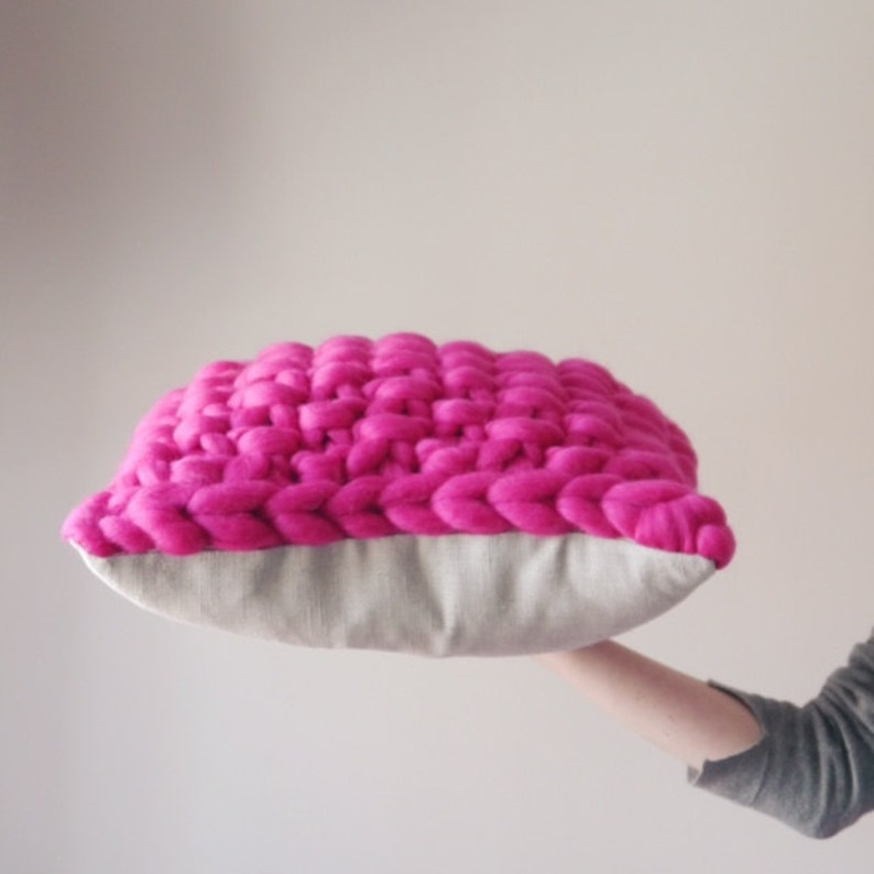 Pink chunky knit cushion  bright pink knitted cushion  image 0