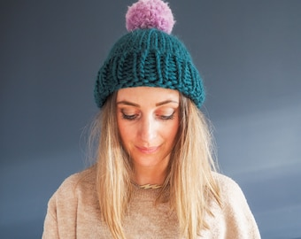 Knit Kit - Bobble-Optional Hat - Two colour super chunky knitted bobble hat