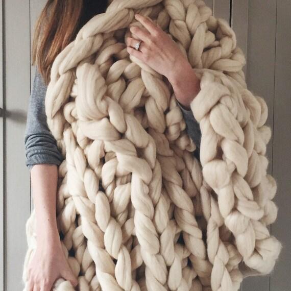 Chunky Knit Blanket In Buttermilk Cream Giant Knit Blanket Etsy Mesmerizing Cream Chunky Throw Blanket