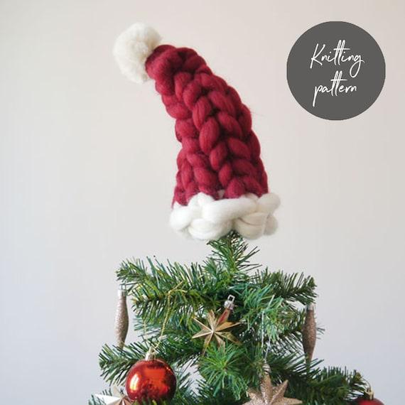 downloadable Christmas hat pattern Tree topper pattern Bottle cosy knitting pattern Miniature Santa Hat Knitting Pattern