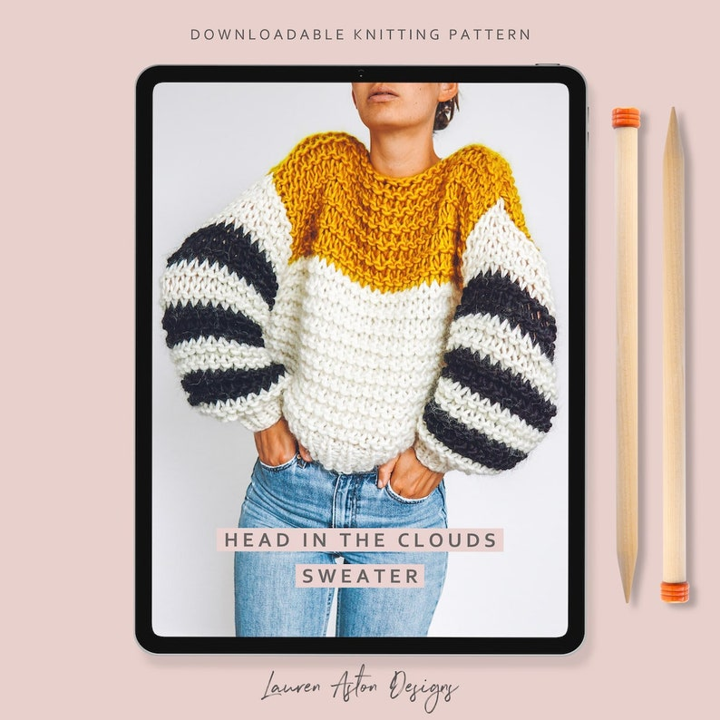 Knitting Pattern  Head in the Clouds Sweater  Beginners image 0