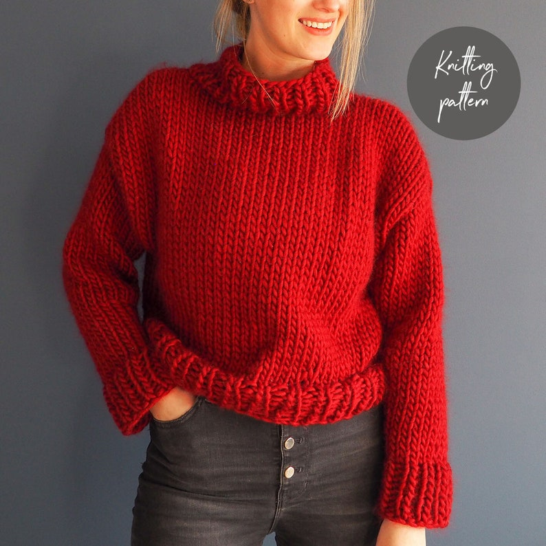 Roll Necked Jumper Knitting Pattern  'Roll with it' image 0