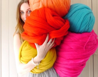 Merino Wool, Super Chunky Yarn, 30+ Colours, extreme knitting, bulky yarn, DIY giant yarn blanket, super chunky knitting wool, arm knitting
