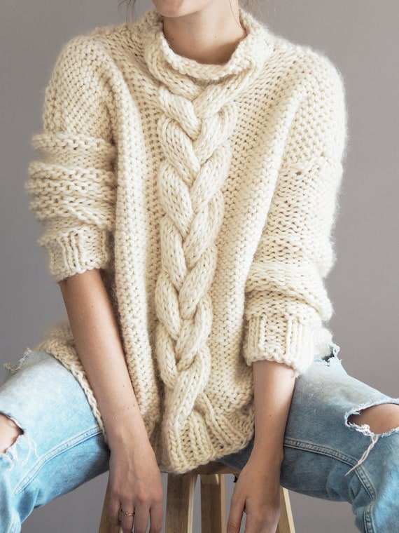 Knitting Pattern Cable Knit Jumper instant download sweater | Etsy