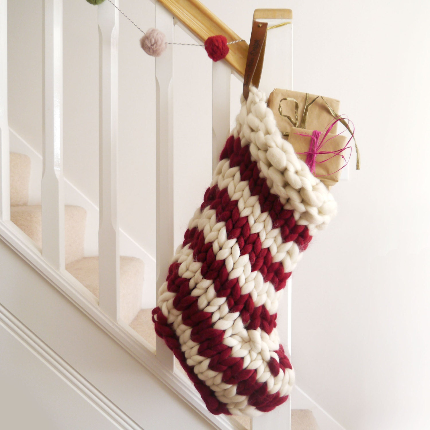 f0a5d6ce380 Chunky Knit Striped Christmas Stocking Red and White