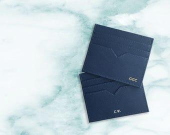 personalized card holder monogram card holder personalized leather card holder leather card case personalized gifts for him navy - Personalized Card Holder